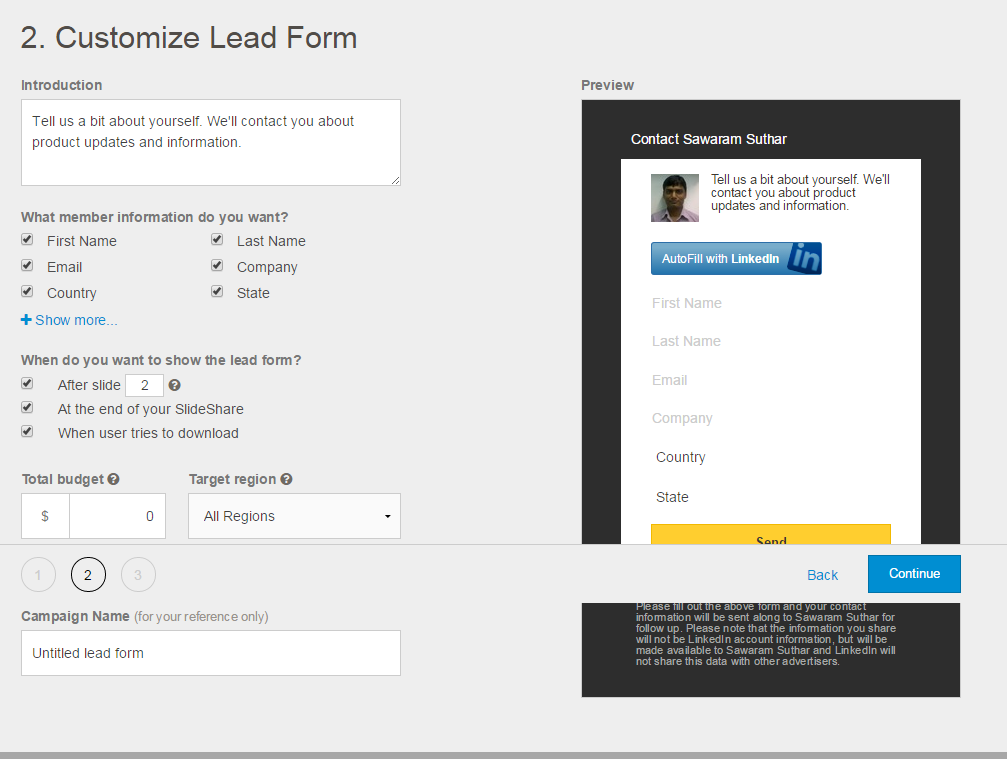 slideshare lead generation form