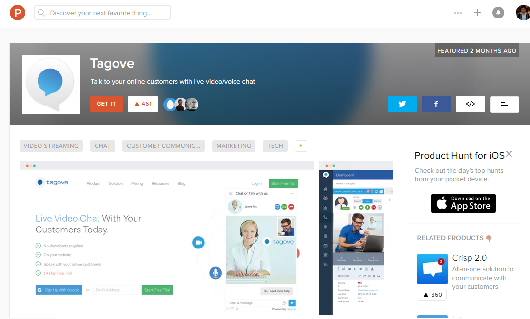 Tagove on ProductHunt