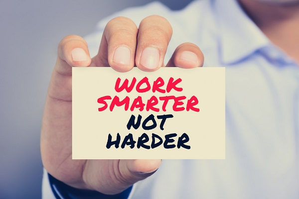 WORK SMARTER NOT HARDER, motivational text message on the card