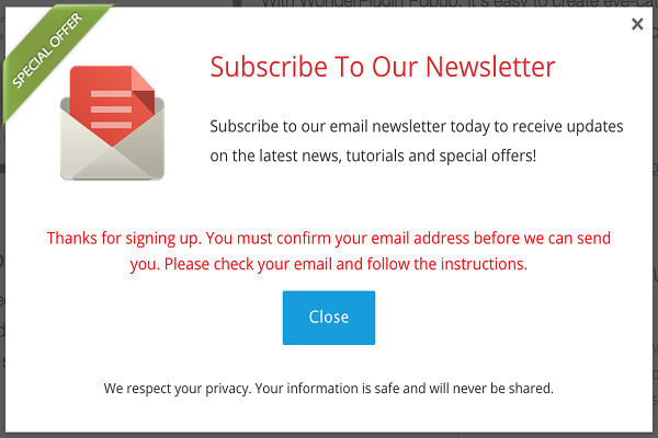 sign up for your newsletters