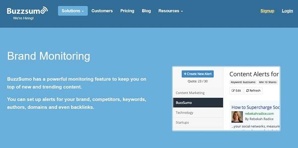 Buzzsumo brand monitoring