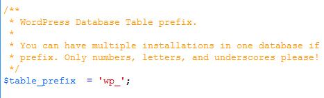 wordpress database prefix