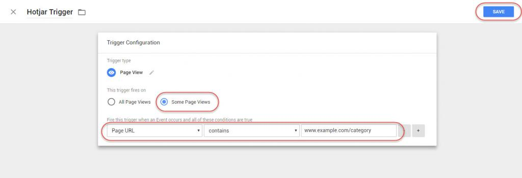 Select Some Page Views & Specify URL