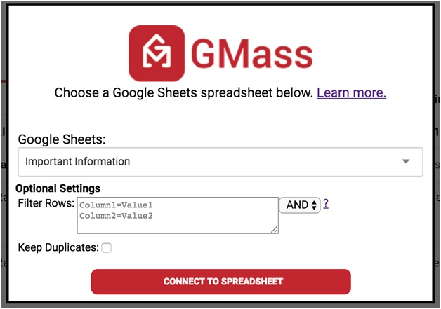 spreadsheet you would like to use in Gmass