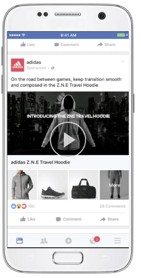 facebook collection ads example adidas