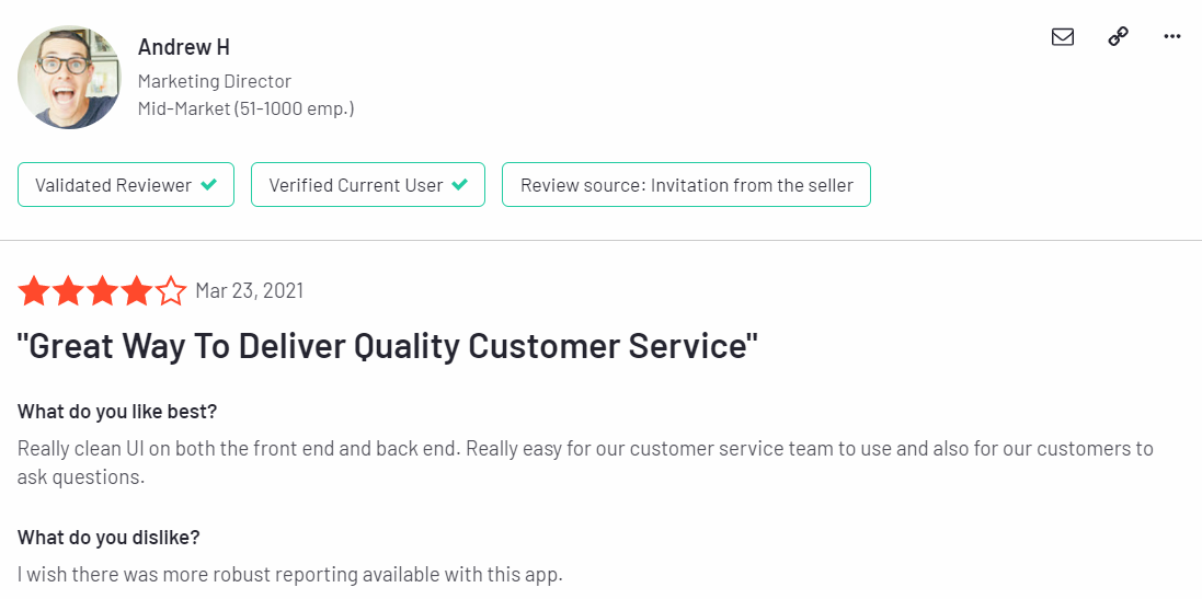LiveChat feedbacks