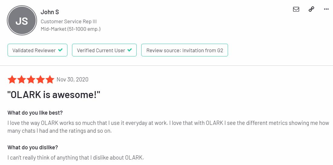 Olark feedbacks