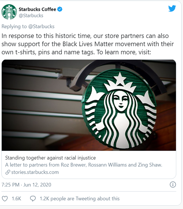 Starbucks campaign on blacklivesmatter