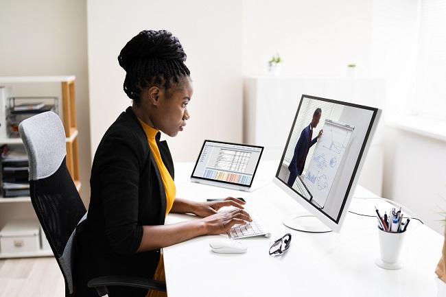 Online Virtual Video Conference Training On Desktop Computer