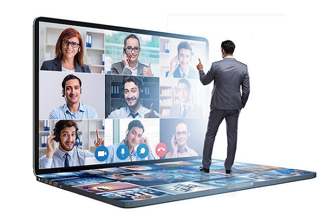 Concept of remote video conferencing during the pandemic