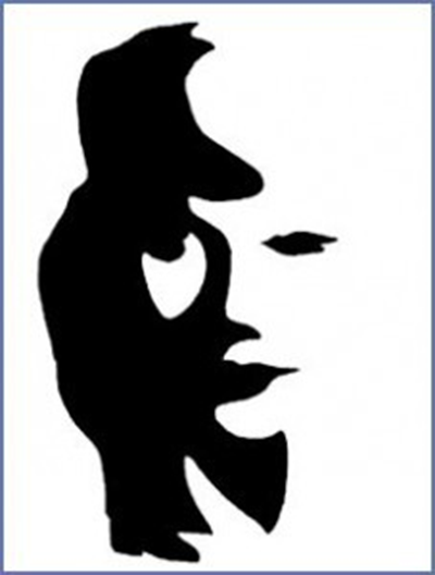 you can see a piper (in the positive or black areas) and the face of a lady