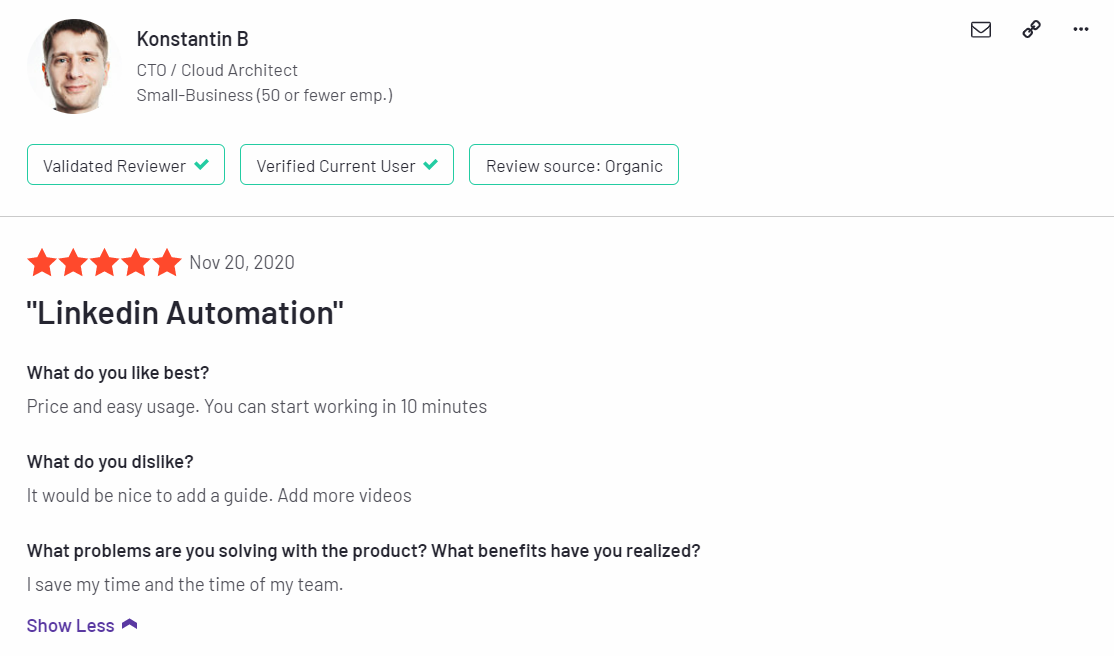 customer reviews on Linkedin Helper2