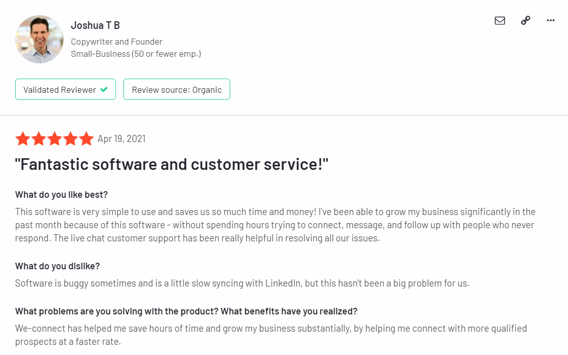 We-connect customer reviews