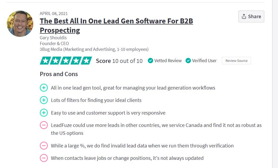 LeadFuze customer reviews
