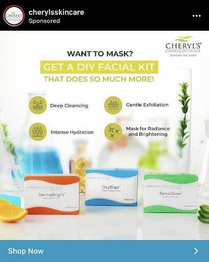 cheryls DIY facial kit Ad on instagram